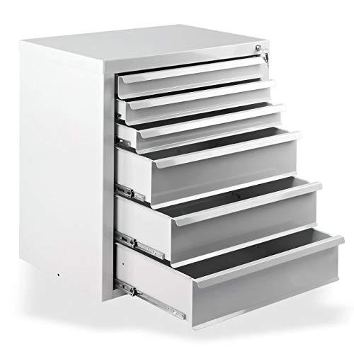 Werkstatt-Schubladenschrank mit 6 Schubladen, BxTxH: 700x435x750 mm, RAL 7035, Lichtgrau