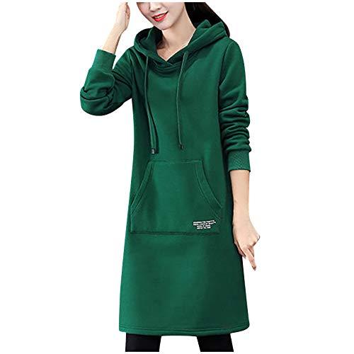 TDEOK Sudadera de manga larga para mujer, con bolsillo y capucha, estilo informal, con texto en inglés, verde, XXXL
