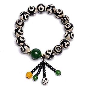 chaosong shop Natürliches Amulett schwarz weiß tibetisches 3 Auge Dzi Perlen Armband Jade Armreif zieht positive Energie an und Glück bringt Glück