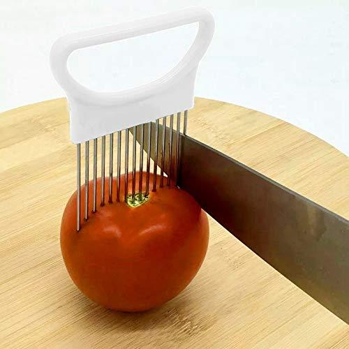 Messerhalter Fleisch Edelstahl Gemüse Zwiebel Cutter Halter Fleisch Nadel Küchenhelfer QiuGe (Color : White)