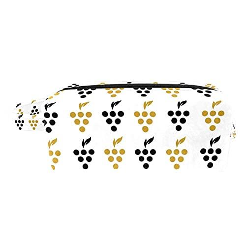 Sac de Maquillage,Trousse de Toilette Voyage Femme et Homme, Sac à Cosmétiques Pliable Multifonctions Motif de Raisins créatifs Noir doré