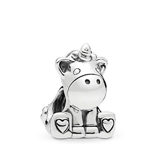 FGT Abalorio de unicornio para pulseras con forma de corazón, plata de ley, diseño de Bruno con unicornio, regalo para mamá, esposa, hija, Navidad, cumpleaños