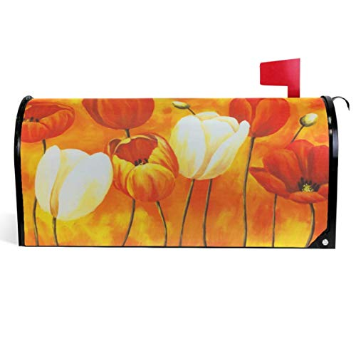 Ingramcontent Painting Art Tulip Mailbox Cover Beautiful Flowers Floral Mailbox Covers Magnetic Mailbox Wraps Post Letter Box Cover Large Size 25.5x21 Inch