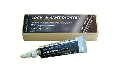 fishingglue.de Loch- & NAHT-DICHTER 12g; Die Reparaturlösung für Zelt, Isomatte, Schirm, Regenjacke, Markise usw. aus Vinyl, PVC und PU