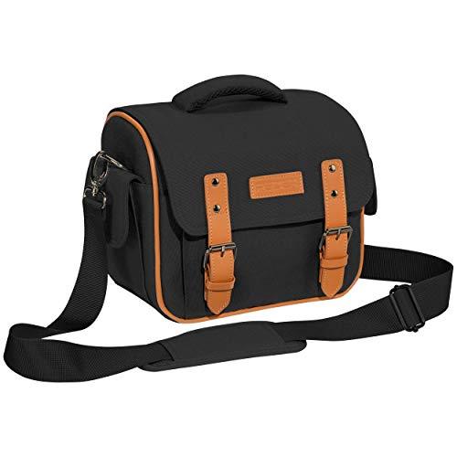 PEDEA DSLR borsa per fotocamera 'Vintage' Borsa per fotocamera per macchine fotografiche reflex con protezione antipioggia impermeabile, tracolla e scomparti per accessori, misura XL nero