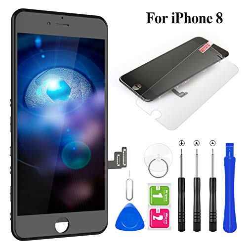 "BuTure for iPhone 8 Screen Replacement 4.7"" LCD Display & Touch Screen Digitizer Frame Assembly with Magnetic Repair Tools and Screen Protector (Black)"