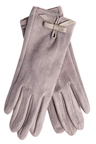 EEM Damen Kunstleder Handschuhe MALENA in Wildlederoptik mit weichem Teddyfleece, vegan, grau-meliert, one size