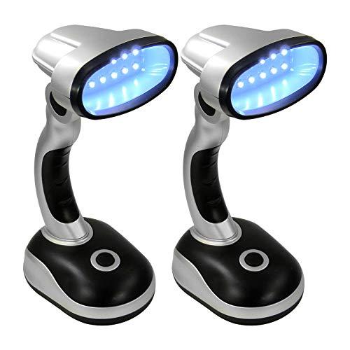 Eaxus® 2er Set LED Schreibtischlampe - kabellose Tischleuchte, tageslicht Silber