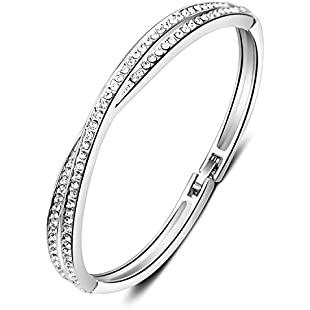 7 Ounces Bangle Bracelet with Clear SWAROVSKI Elements Crystal 18ct White Gold Plated Ladies Jewellery for Wedding/Birthday Diam5.8cm