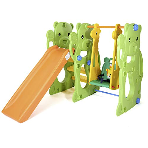 Baby Vivo Kinderschaukel Schaukelgerüst Gartenschaukel mit Rutsche Kinder Indoor Outdoor Jungle