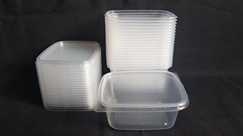 20 piezas 250 ml pequeño rectangular desechables de plástico cubo de recipientes con tapa para alimentos.