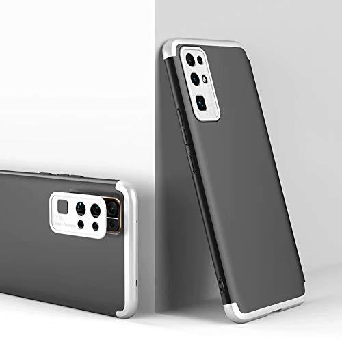 DYGG kompatibel mit Premium Hart PC 360 Grad Hülle Huawei Honor 30s 5G + inbegriffen Panzerglas,3 in1 Handytasche Handyhülle Schutzhülle Cover - Silber Schwarz