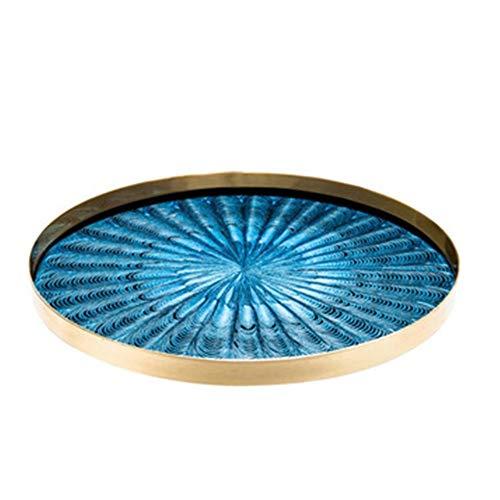 Lwieui Bandeja Decorativa Resina acrílica mármol Bandeja de Cocina Mesa de café Inicio Bandeja del Desayuno Decoración Bandejas cosméticos (Color : Azul, Size : S)