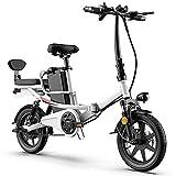 TGHY Bicicleta Eléctrica Plegable para Adultos E-Bike de 14' para Mujeres y Hombres 25km/h Bicicleta de Ciudad Eléctrica con Asiento Doble Asistencia de Pedal Suspensión Completa,Blanco,30km