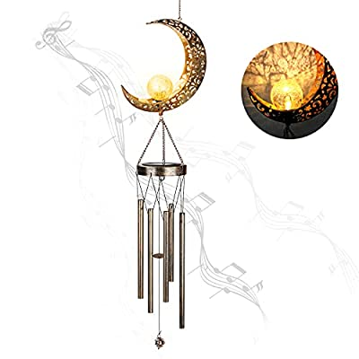 Number-one Solar Moon Wind Chimes, Moon Crackle Glass Ball Wind Chimes with Metal Tubes for Outside Courtyards, Terraces, Gardens Hanging Decor
