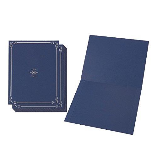 Portaequipajes para diplomas (12 unidades) – Elegantes fundas para documentos para certificados de premio (azul/plata) – Se adapta a documentos tamaño A4 (21,0 x 29,7 cm)