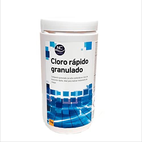 NC PISCINAS Cloro rápido granulado para Piscinas 1 Kg | Alta concentración | Disolución rápida| Fabricado en España | Válido para Piscinas de Obra, hinchables y Desmontables