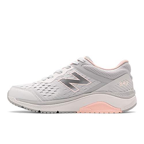 New Balance Women's 847 V4 Walking Shoe, Arctic Fox/Silver Mink/Peach Soda, 10 Narrow
