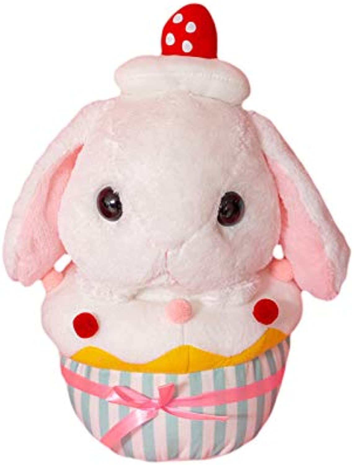 DONGER Creative Cute Dreamy Lop Ear Rabbit Cupcake Toy Big Doll, White, 40Cm