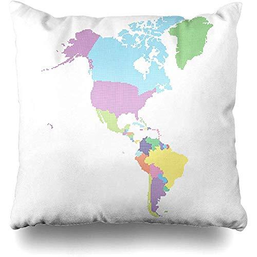 Doble Cojines Fundas 18' Estados Unidos Canadá América Mapa Hecho Dot México Argentina Atlas Brasil tografía Funda de Almohada Suave para la Piel