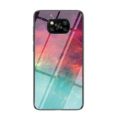 REMIFA Geeignet für Xiaomi Poco X3 NFC Stern farbige Glasvitrine Poco X3 NFC bemalte Telefonhülle Schutzhülle (B)