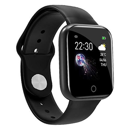 GKJ Smartwatch, Impermeable Reloj Inteligente con Cronómetro, Pulso Esfigmomanómetro Y Pulsómetro Reloj Inteligente Impermeable para Hombre Mujer,Negro