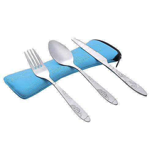 VNEIRW 3 Stück Camping Besteck,Messer Gabel Löffel Set Geschirr aus Edelstahl mit Neopren-Bestecktasche für Outdoor und Reise (Himmelblau)