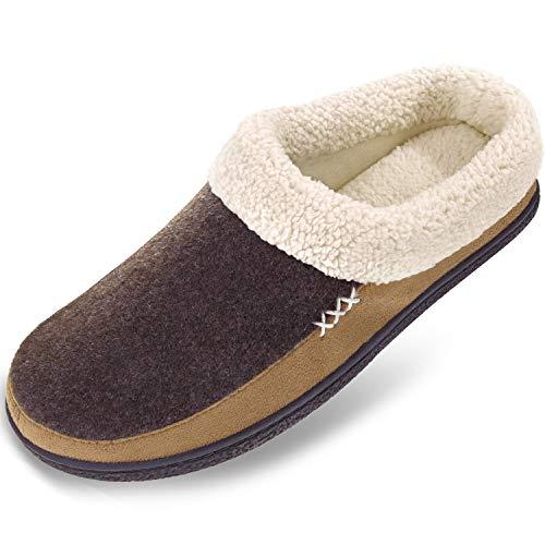 Men's Slippers Fuzzy House Shoes Memory Foam Slip On Clog Plush Wool Fleece Indoor Outdoor Size 9-10 Coffee/Light Brown