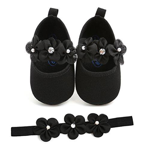 EDOTON Baby Mädchen 2 Pcs Kleinkind Party Schuhe Mit Stirnband, Schwarz, Gr.- 6-12 Monate/Herstellergröße- 3