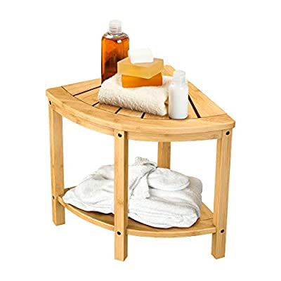 Bamboo Corner Shower Bench Waterproof Stool with Space-Efficient Storage Shelf - Shower Stool Seat for Indoor or Outdoor Use