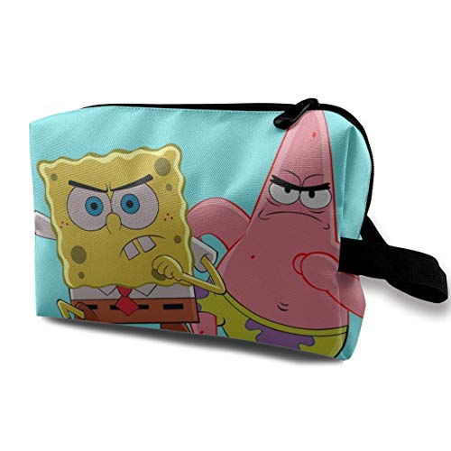 Patrick Star Travel Makeup Pouch with Wristlet Cosmetic Bags Portable Toiletry Bag with Zipper for Girls Women