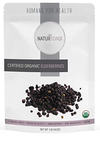 Dried Elderberries, USDA Certified Organic, Dried Elder Berry Sambucus Nigra, 1 Pound Resealable Fresh Pouch