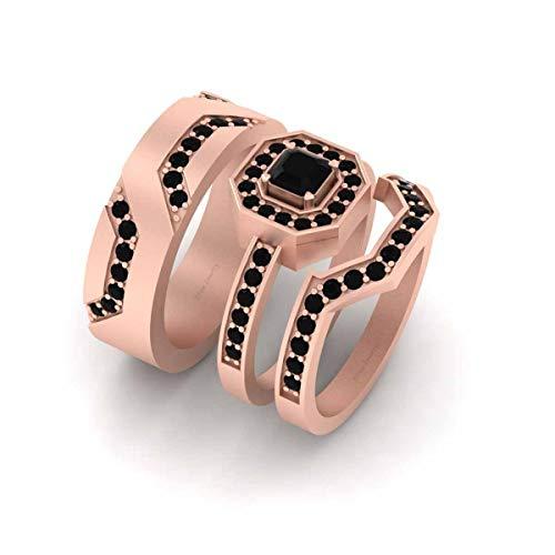 Anillo de compromiso con halo de diamantes negros de 1,15 quilates de corte radiante y redondo, juego de alianzas de oro rosa Fn de plata de ley 925