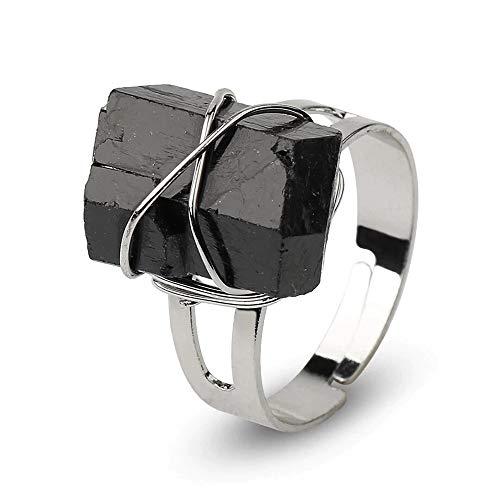 Anillo Cuarzo Obsidiana Ajustable envuelto en alambre plateado – Preciosa Alianza Cristal de Piedra Negra para regalo romántico y elegante para mujer