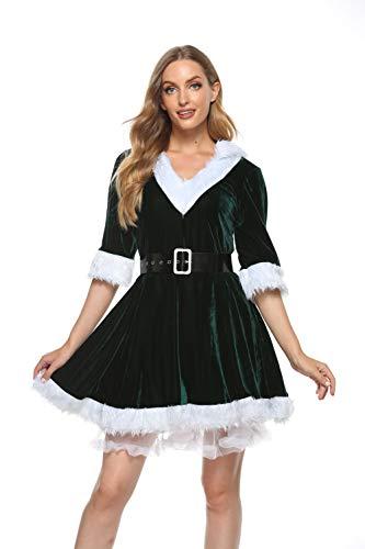 PDYLZWZY Damen Weihnachtskostüm Mrs. Santa Claus Kostüm Weihnachtskleid mit Kapuze, Gürtel und Petticoat Christmas Party Weihnachtsfeier Cosplay Hoodie V-Auschnitt Dress Xmas Outfit (Grün, M)