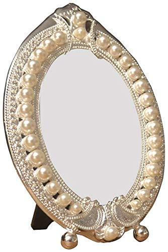 FACAIA Spiegel einseitiger Kosmetikspiegel silberner elliptischer Schminkspiegel Perlmutt-Schminkspiegel