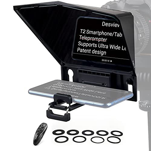 Desview T2 Teleprompter for Ipad Smartphone Tablet DSLR Camera with Remote Control,11 inch 70/30 Beam Splitter Glass for Camera Video Recording