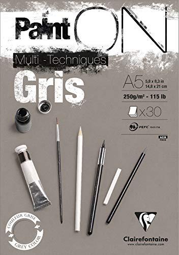 Clairefontaine 975808C paint' on–Bloc encolado 30hojas de papel de dibujo 250g 14,8x 21cm gris