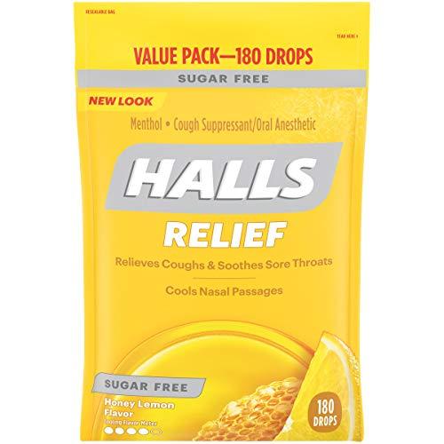 HALLS Sugar Free Honey Lemon Flavor Cough Drops 1 Bag 180 Total Drops
