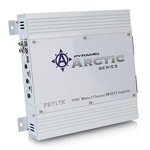 Price comparison product image PYRAMID 2 Channel Car Stereo Amplifier - 1000W Dual Channel Bridgeable High Power MOSFET Audio Sound Auto Small Speaker Amp Box w / Crossover,  Variable Gain Control,  RCA IN / OUT,  LED Indicators - Pyle PB717X
