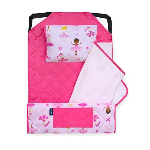 Wildkin Kids Modern Nap Mat with Pillow for Toddler Boys & Girls, Ideal for Daycare & Preschool, Features Elastic Corner Straps, Cotton Blend Materials Nap Mat for Kids, BPA-Free (Ballerina)