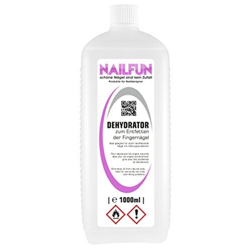 NAILFUN DEHYDRATOR [1 Liter] - Entfetter und Entfeuchter für stark nachfettende Nägel mit Haftungsproblemen - für die Nagelmodellage [1x 1000ml]
