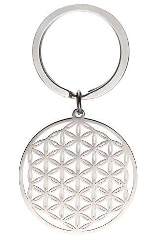 cooltime Stainless Steel Pendant Keychain Flower of Life Mandala Circle...