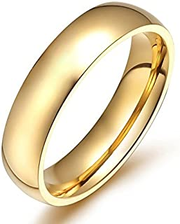 Men Women Stainless Steel Smooth Rings 4MM Width,Gold,High Palted