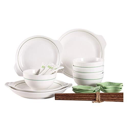 Dîner Combi-Set, bols en porcelaine, soucoupes, cuillères, baguettes, costume 20 pièces, pour fours à micro-ondes, lave-vaisselle