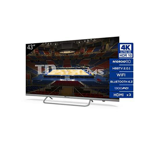 Televisiones Smart TV 43 Pulgadas 4K Android 9.0 y HBBTV, 1300 PCI Hz UHD HDR, 3X HDMI, 2X USB. DVB-T2 C S2, Modo Hotel - Televisores TD Systems K43DLX11US