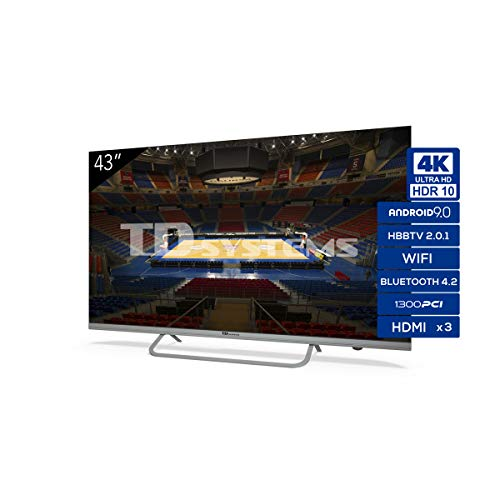 Televisiones Smart TV 43 Pulgadas 4K Android 9.0 y HBBTV, 1300 PCI Hz UHD HDR, 3X HDMI, 2X USB. DVB-T2/C/S2, Modo Hotel - Televisores TD Systems K43DLX11US