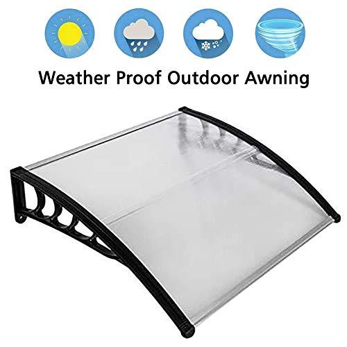 ZDYLM-Y Vordach Haustür Überdachung Pultvordach, Polycarbonatabdeckung Vordertür mit gebogener ABS-Halterung, Sonnenschutz für Regen