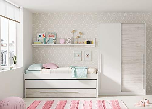 Miroytengo Pack Muebles habitación Infantil Juvenil Elliot Blanco (Cama Nido+Estantería+Armario+Somieres 90x190 cm)