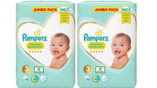 Pampers Premium Protection Windeln Gr. 3, 2x66=132 Jumbo Packungen